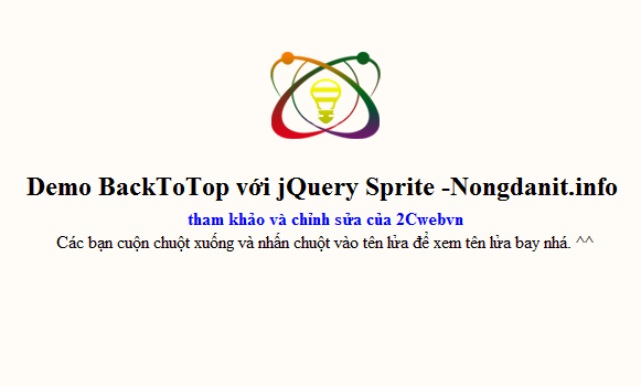 Back To Top bằng Jquery